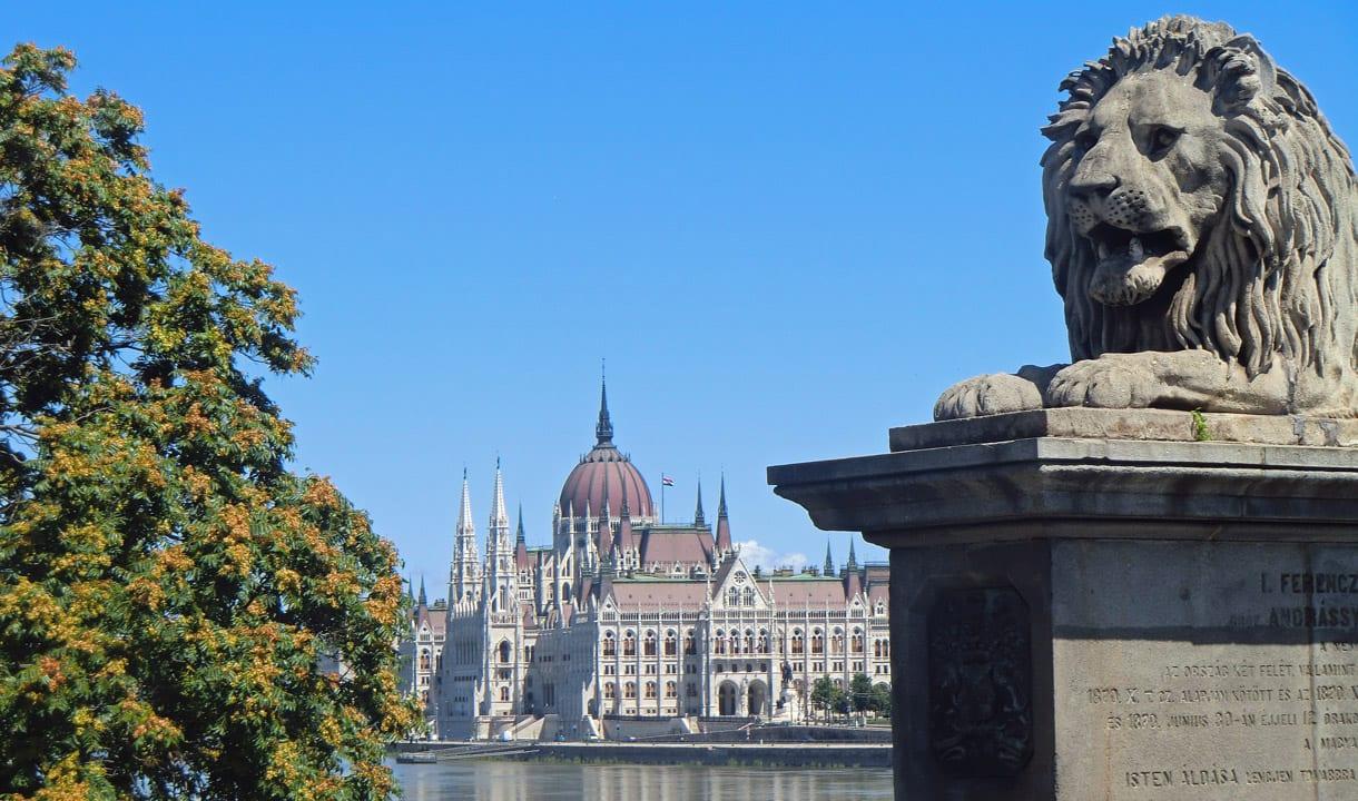 Lion du Pont des Chaînes et Parlement de Hongrie