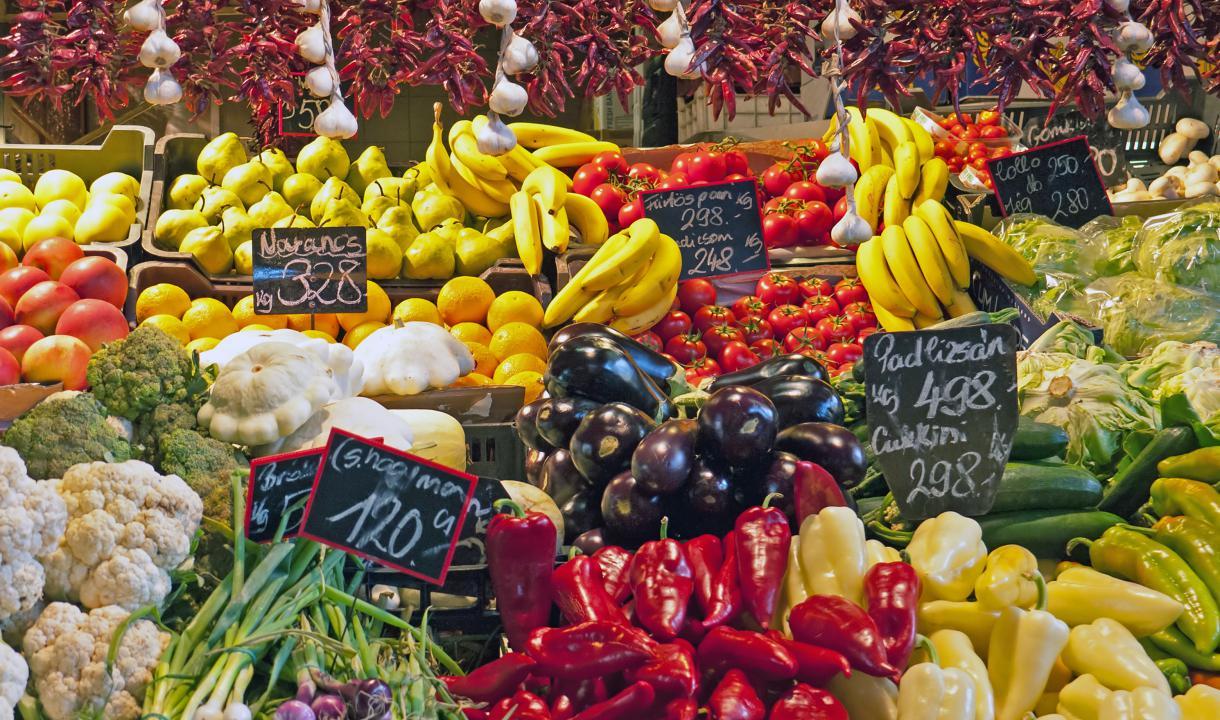Étal d'un marché de Budapest